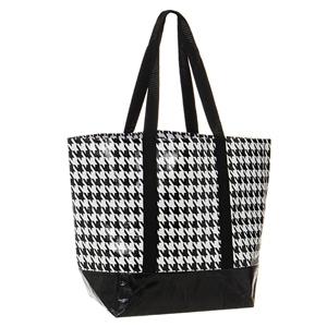 Houndstooth Woven Handbag