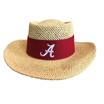 Alabama Crimson Tide Tournament Straw Gambler Hat