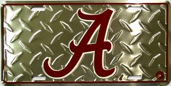 Alabama Crimson Tide Metal Diamond License Plate