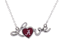 Alabama Crimson Tide Red Love Script Heart Silver Necklace