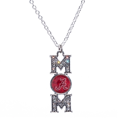 Alabama Crimson Tide Mom Clear Crystal Silver Necklace