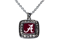 Alabama Square Rhinestone Pendant Necklace