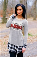 Alabama Plaid Panel Button Tunic Top
