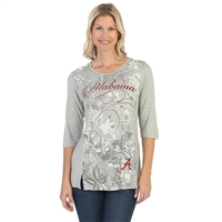 Alabama Crimson Tide Script Print Shirt | BAMA Ladies Script Print Shirt | Alabama Crimson Tide Ladies 3/4 Sleeve Shirt