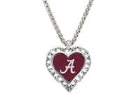 Alabama Silver Tone Heart Necklace