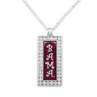 Alabama Crimson Tide Rectangular Zebra BAMA Necklace