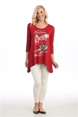 Alabama Crimson Tide Women Sharkbite Sleeve Top